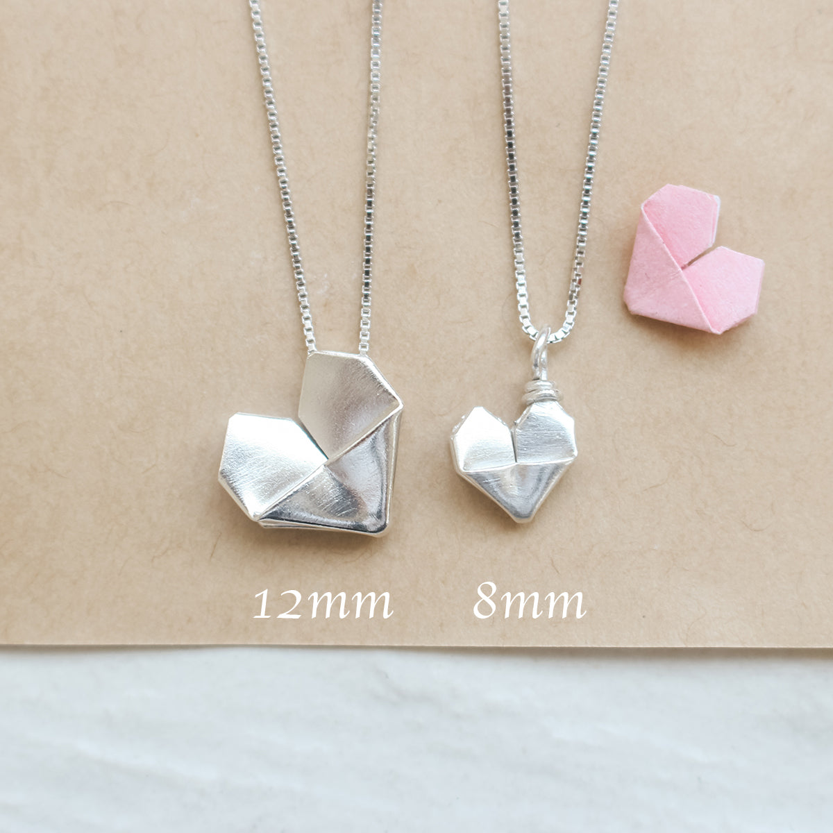Origami Silver Heart Necklace / Sterling Silver Paper Heart Necklace / Folding Heart Necklace