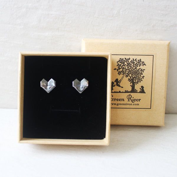 Engraved Black Silver Origami Heart Stud Earrings (Grand) / Personalised Oxidised Silver Origami Heart Earrings (Big)