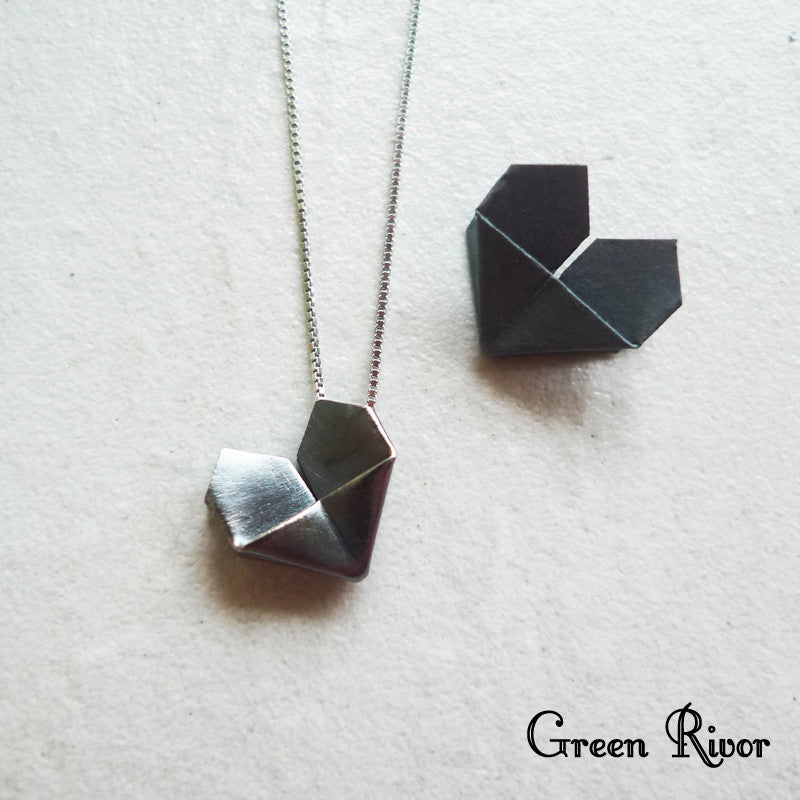Twin Origami Hearts Silver Necklace - Black and White Silver