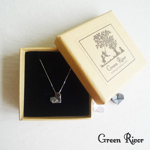Black Silver Origami Heart Necklace / Silver Paper Heart Necklace