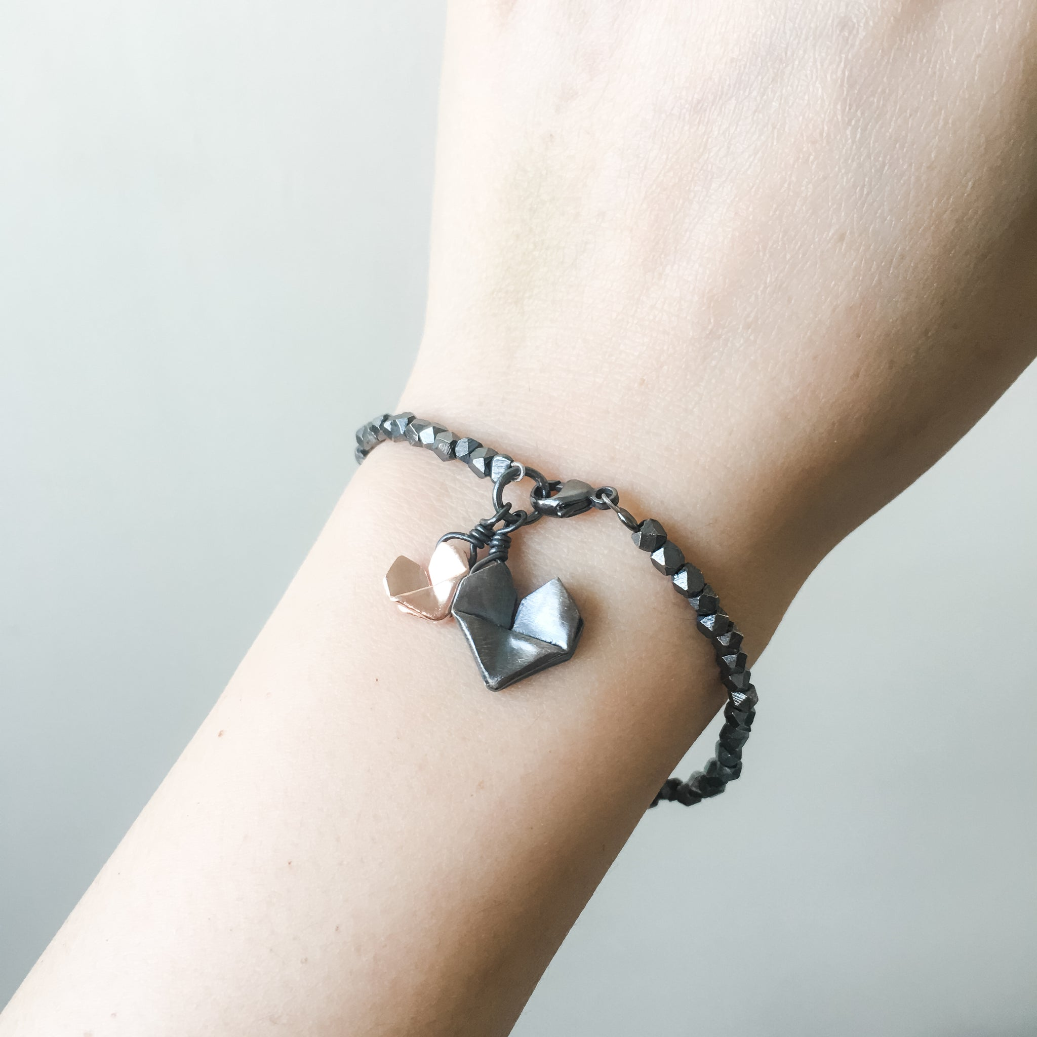 Black Silver Origami Big and Small Hearts Bracelet
