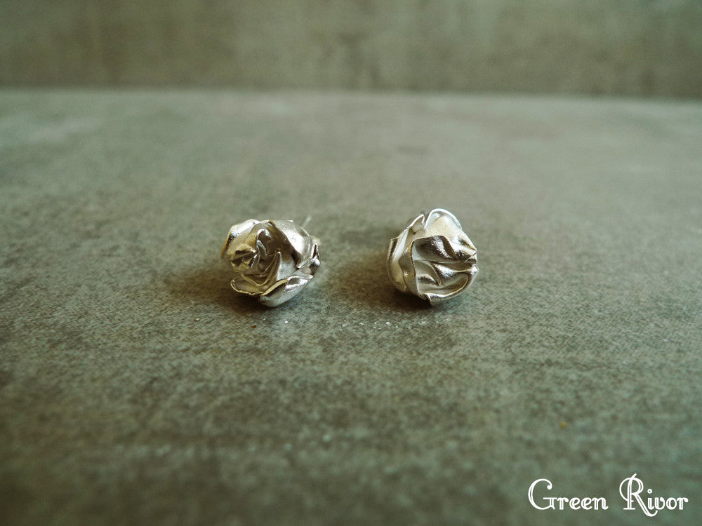 Crumpled Paper Ball Silver Stud Earrings / Paper Ball Earrings / Origami Ball Earrings / Organic Shape Earrings