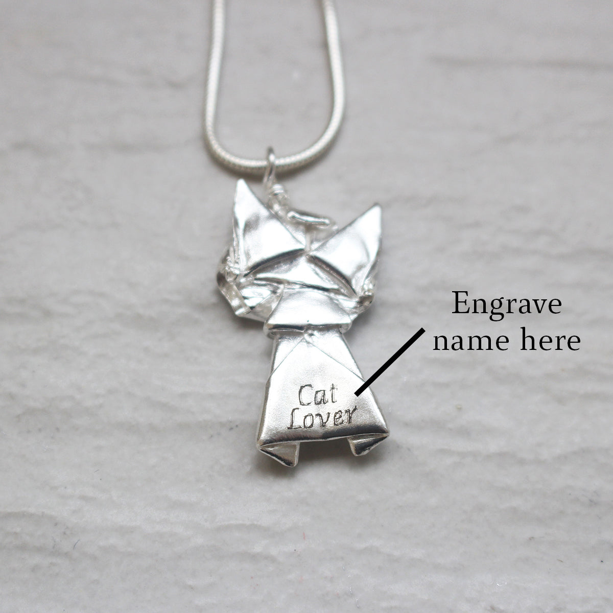 Silver Origami Cat Necklace
