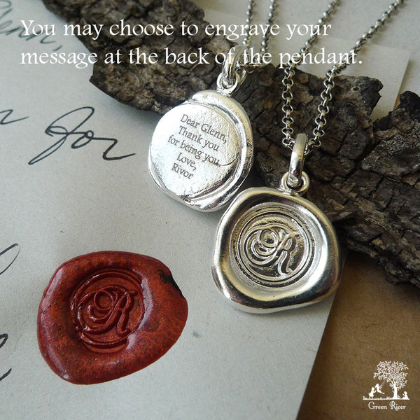 Sterling Silver Wax Seal Necklace - Initial Monogram M