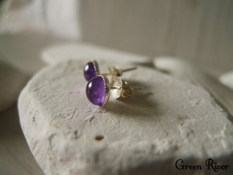 Purple Amethyst Stud Earrings, Purple Crystal Earrings in Sterling Silver, February Birth Stone