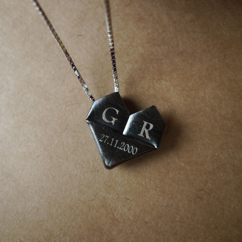 Personalised Black Silver Origami Heart Necklace / Silver Paper Heart Necklace