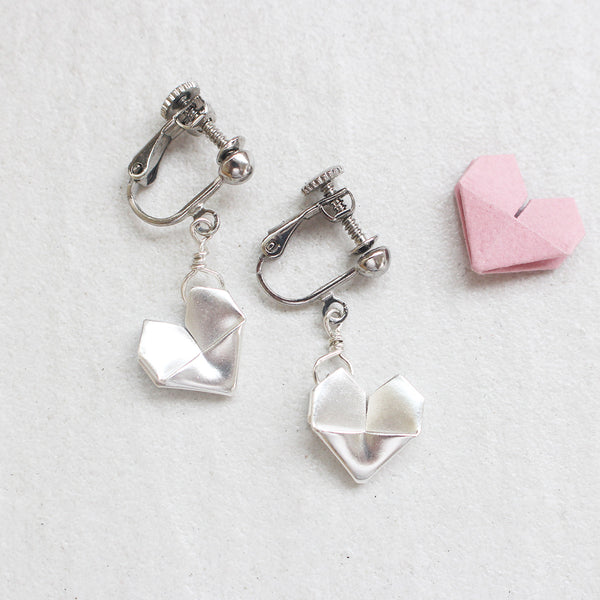 925 Silver Origami Heart Ear Clips