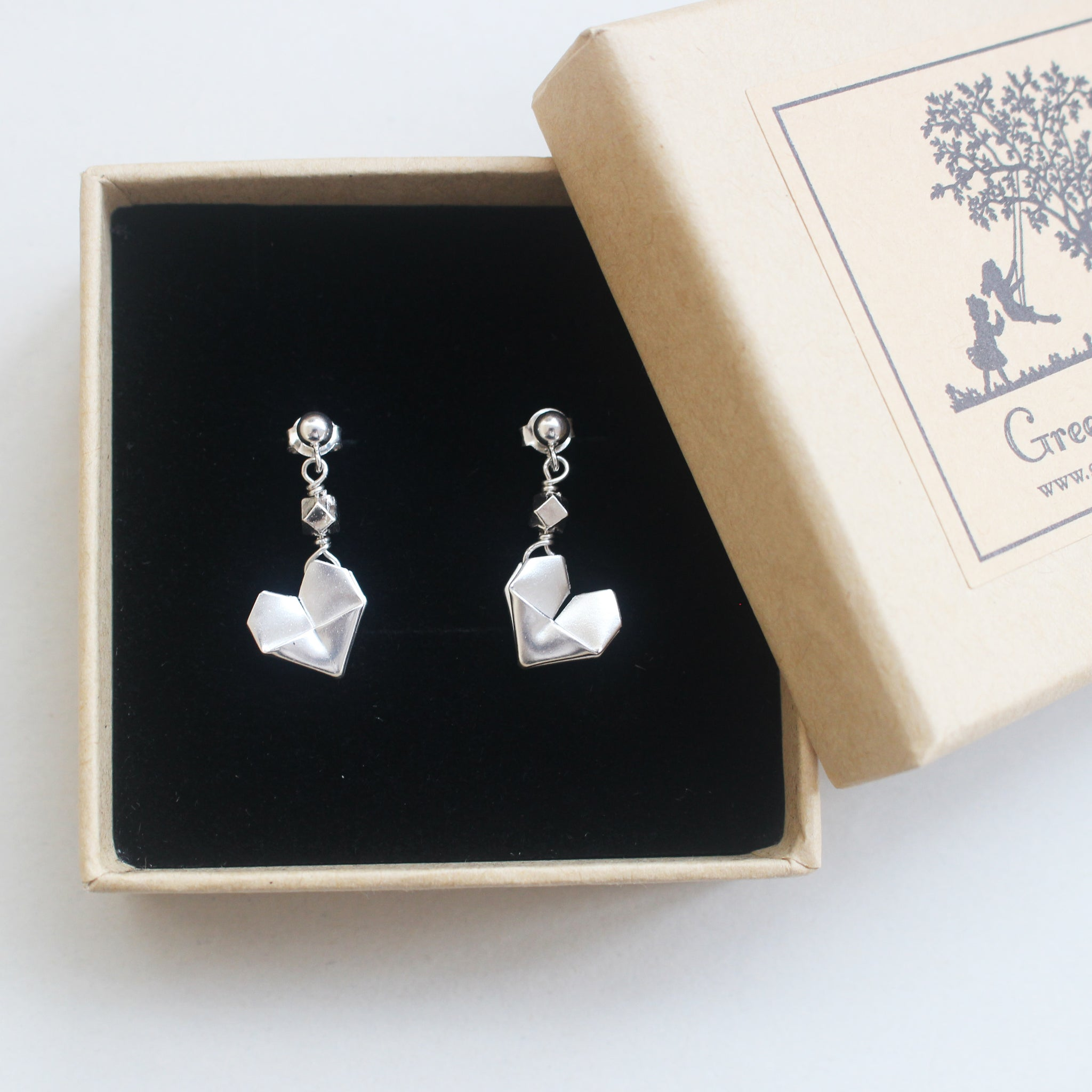 925 Silver Origami Heart Dangling Earrings