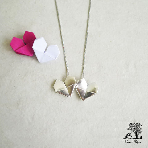 Twin Origami Hearts Silver Necklace - White and White Silver