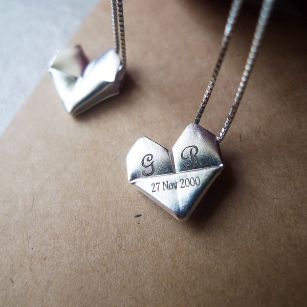 Personalised Silver Origami Heart Necklace / Sterling Silver Paper Heart Necklace / Folding Heart Necklace
