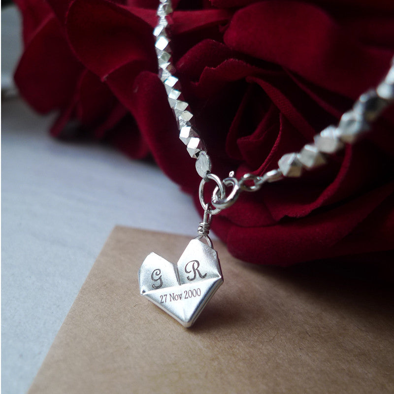 Personalised Origami Heart Matte Silver Sand Bracelet