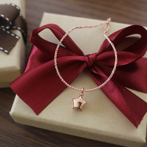 Teeny Tiny Silver Rose Gold Origami Lucky Star Bracelet