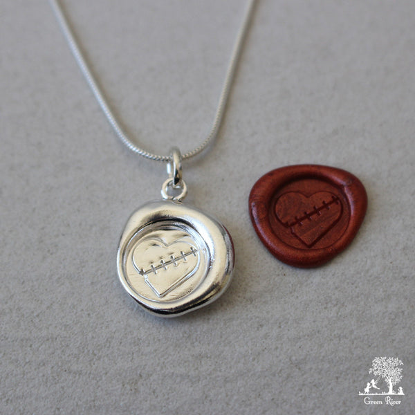 Healing Heart Sterling Silver Wax Seal Necklace