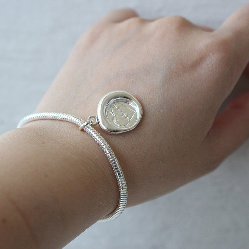 Healing Heart Sterling Silver Wax Seal Bracelet