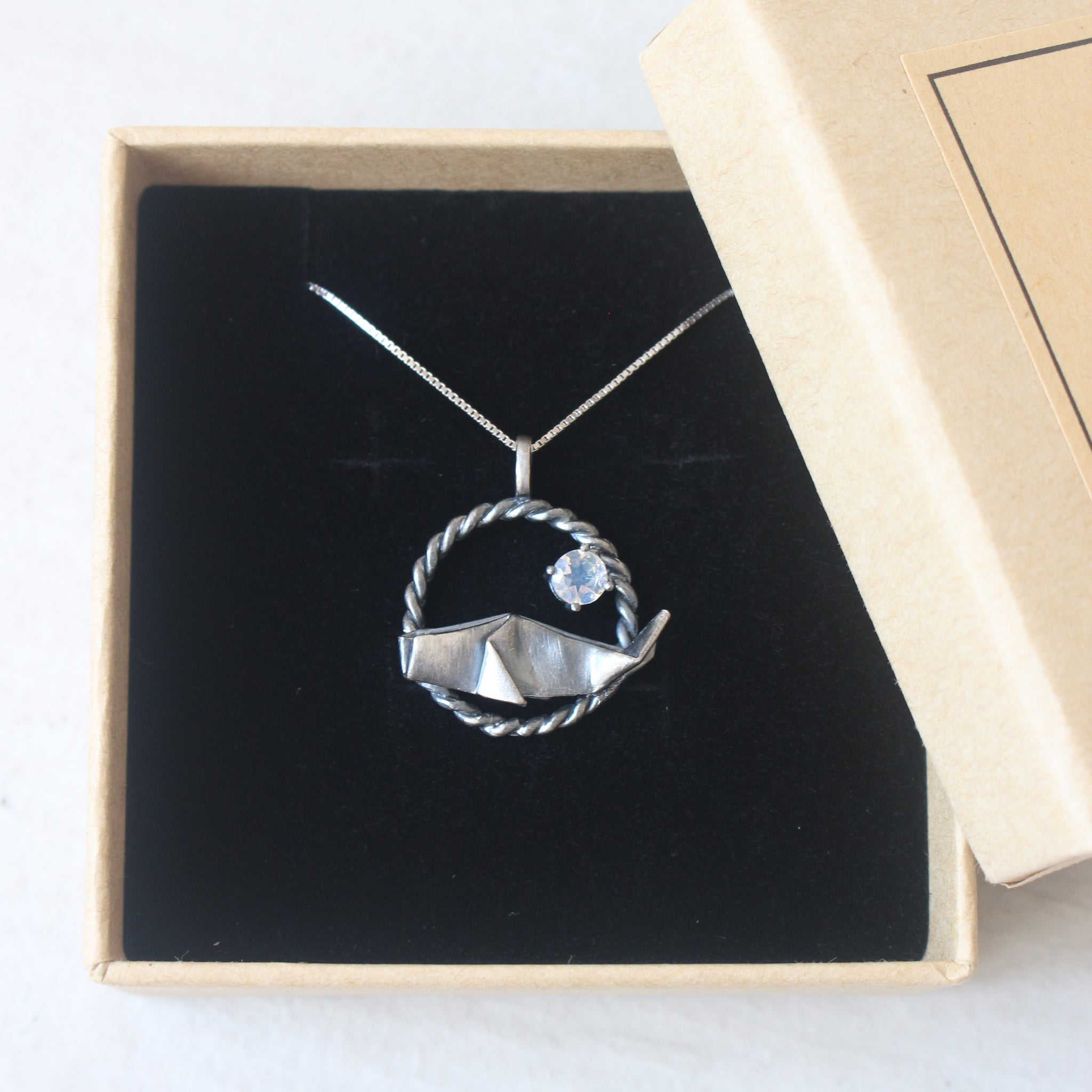 925 Black Silver Origami Whale with Moonstone Necklace