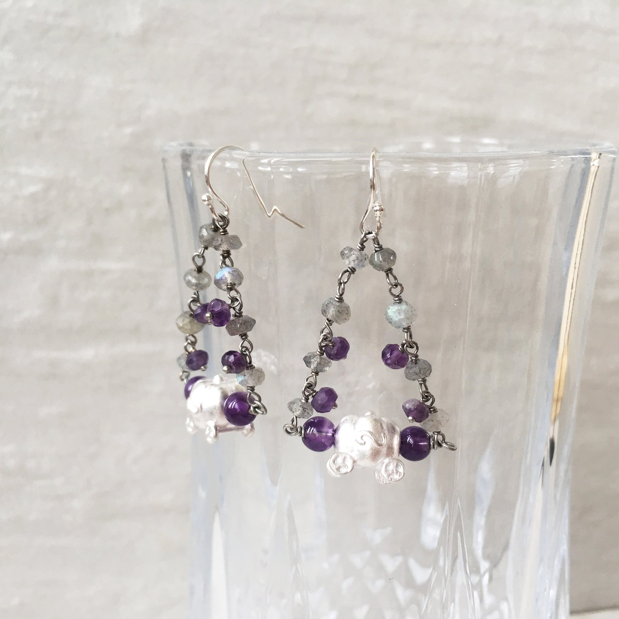 925 Silver Pumpkin Labradorite and Amethyst Earrings