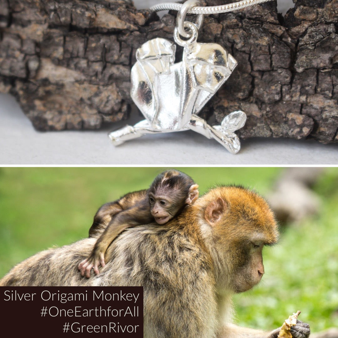 Silver Origami Monkey Necklace
