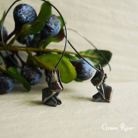 Origami Rabbit Dangling Long Earrings in Oxidized Sterling Silver / Black Rabbit Earrings