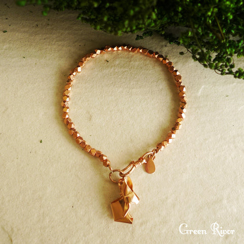 18K Rose Gold Plated Silver Origami Rabbit Bracelet
