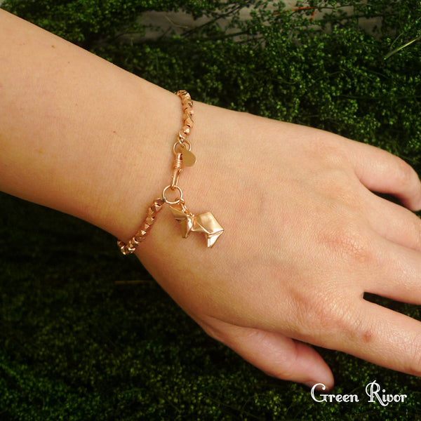 Rose Gold Plated 925 Sterling Silver Origami Rabbit Bracelet