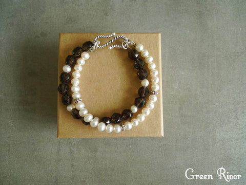 Pearl and Smoky Quartz Double-row Bracelet / Multi Function Pearl Bracelet