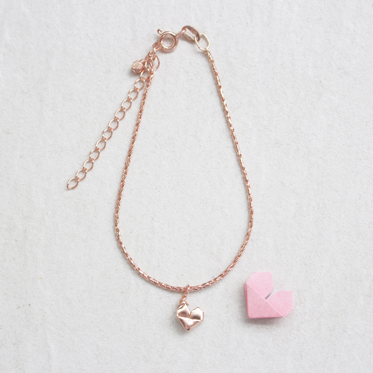 Rose Gold Plated 925 Silver Teeny Tiny Origami Heart Bracelet