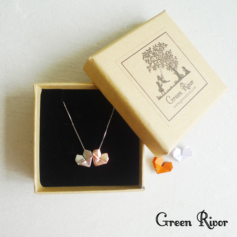 Twin Origami Hearts Silver Necklace - Rose Gold Plated Silver and White Silver