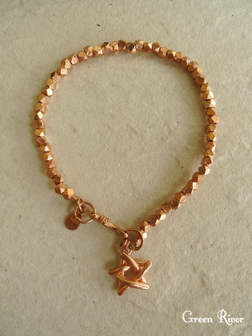 Rose Gold Plated Sterling Silver Toothpick Star Bracelet