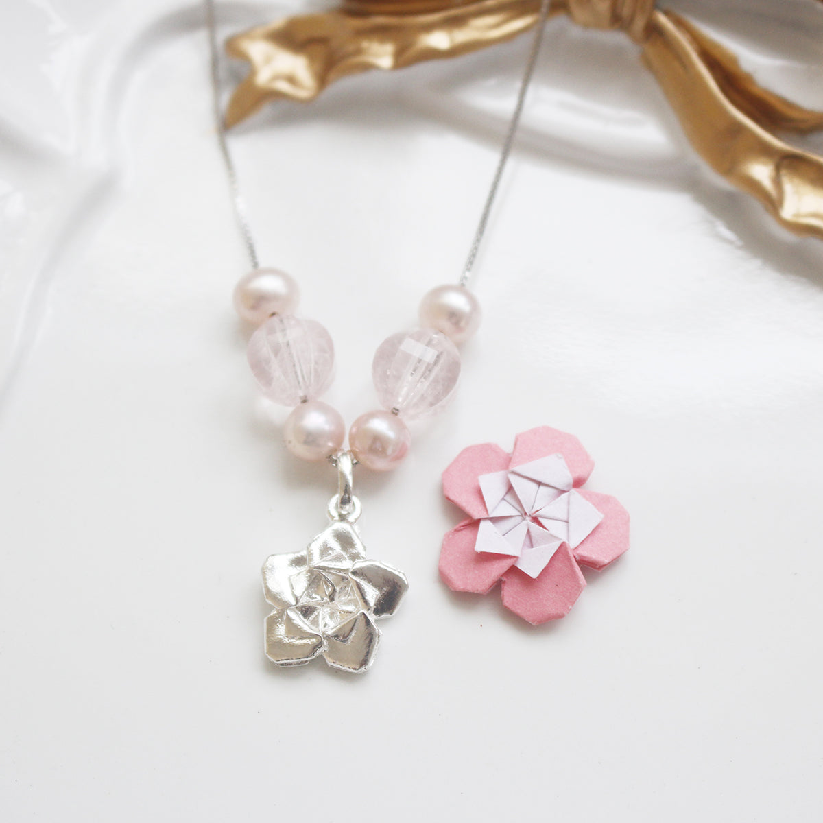 925 Silver Origami Sakura Pearl and Rose Quartz Necklace