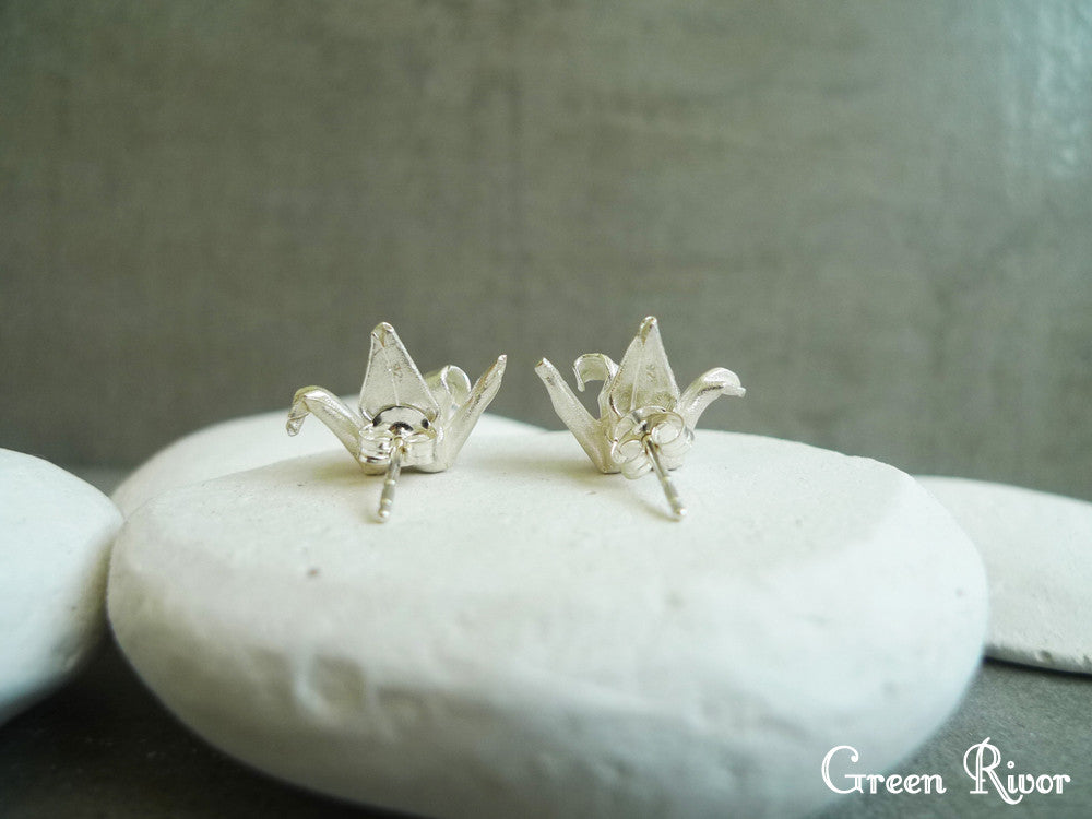 Origami Crane Earrings Sterling Silver Stud - Origami Bird/ Paper Crane/ Paper Bird Earrings