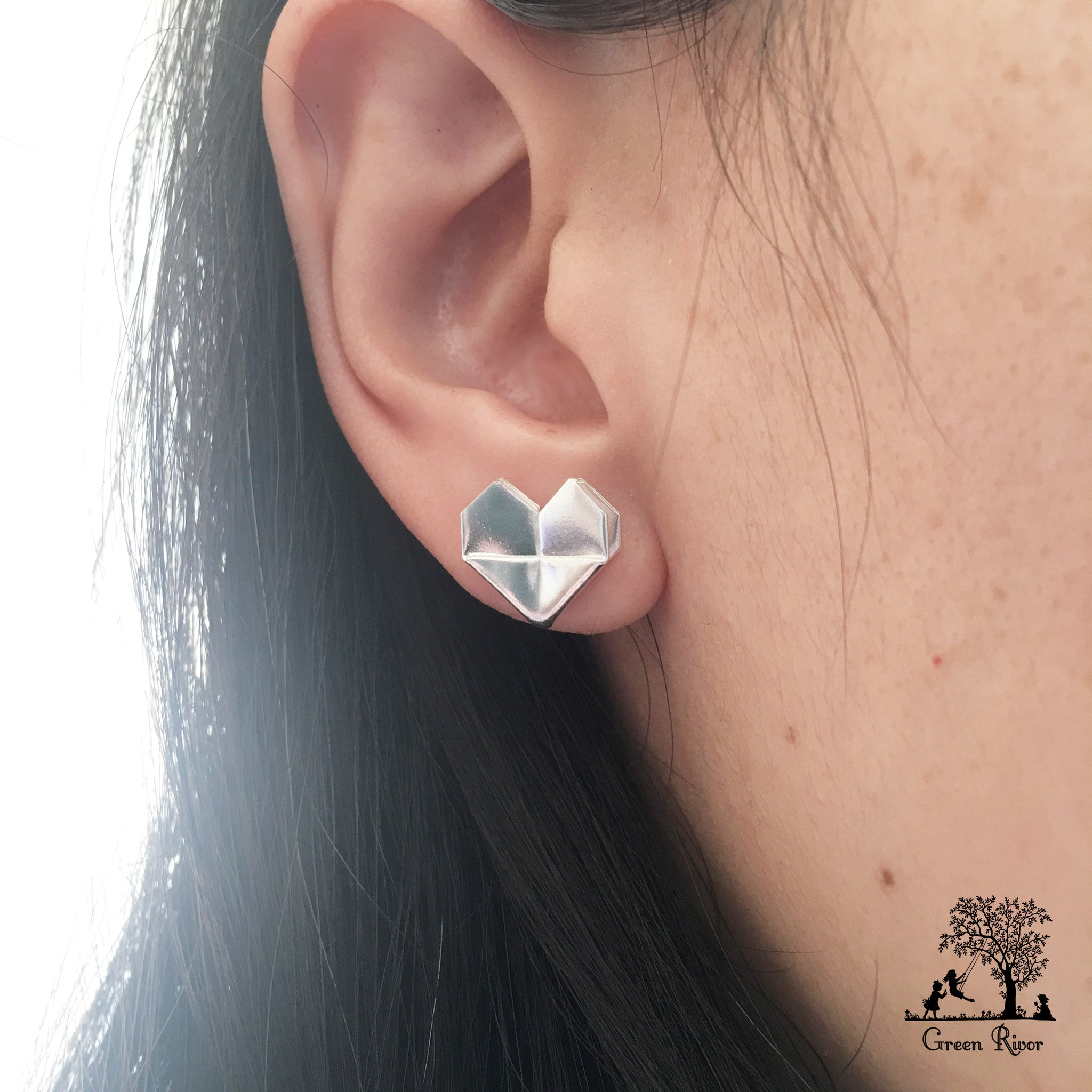 Silver Origami Heart Stud Earrings (Grand)