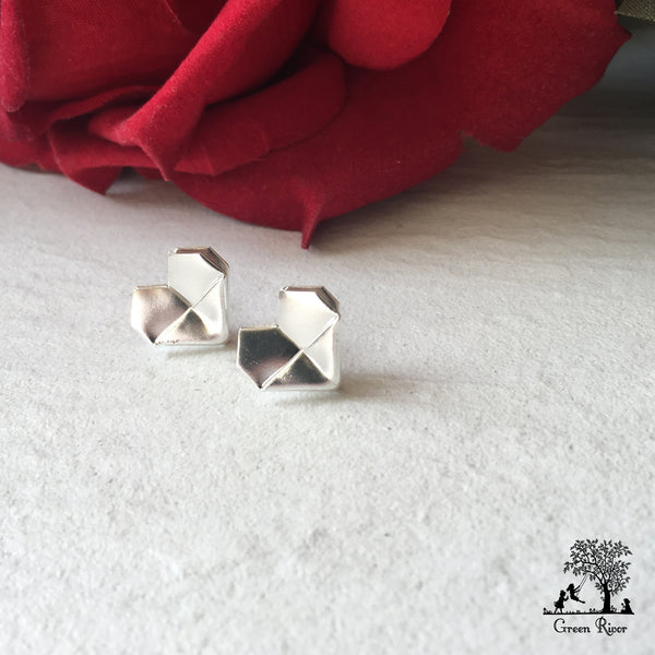 Silver Origami Heart Stud Earrings (Grand)   Sterling Silver Heart Ear –  Green Rivor 0d8cacdf2ad2