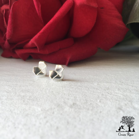 Silver Origami Heart Stud Earrings (Babes Size) / Sterling Silver Heart Earrings (Babes Size)