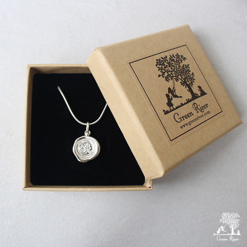 Sterling Silver Wax Seal Necklace - Initial Monogram R