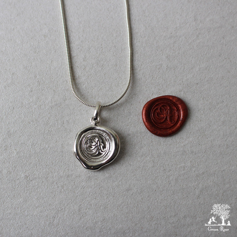Sterling Silver Wax Seal Necklace - Initial Monogram A
