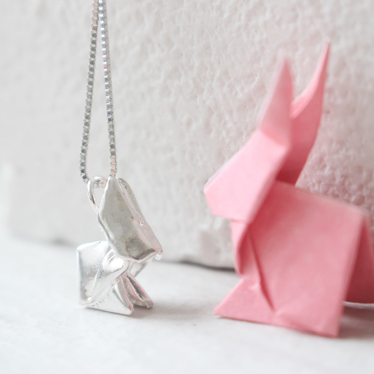 Origami Rabbit Silver Necklace/Silver Rabbit Necklace/Silver Bunny Necklace/Paper-folded Bunny Necklace