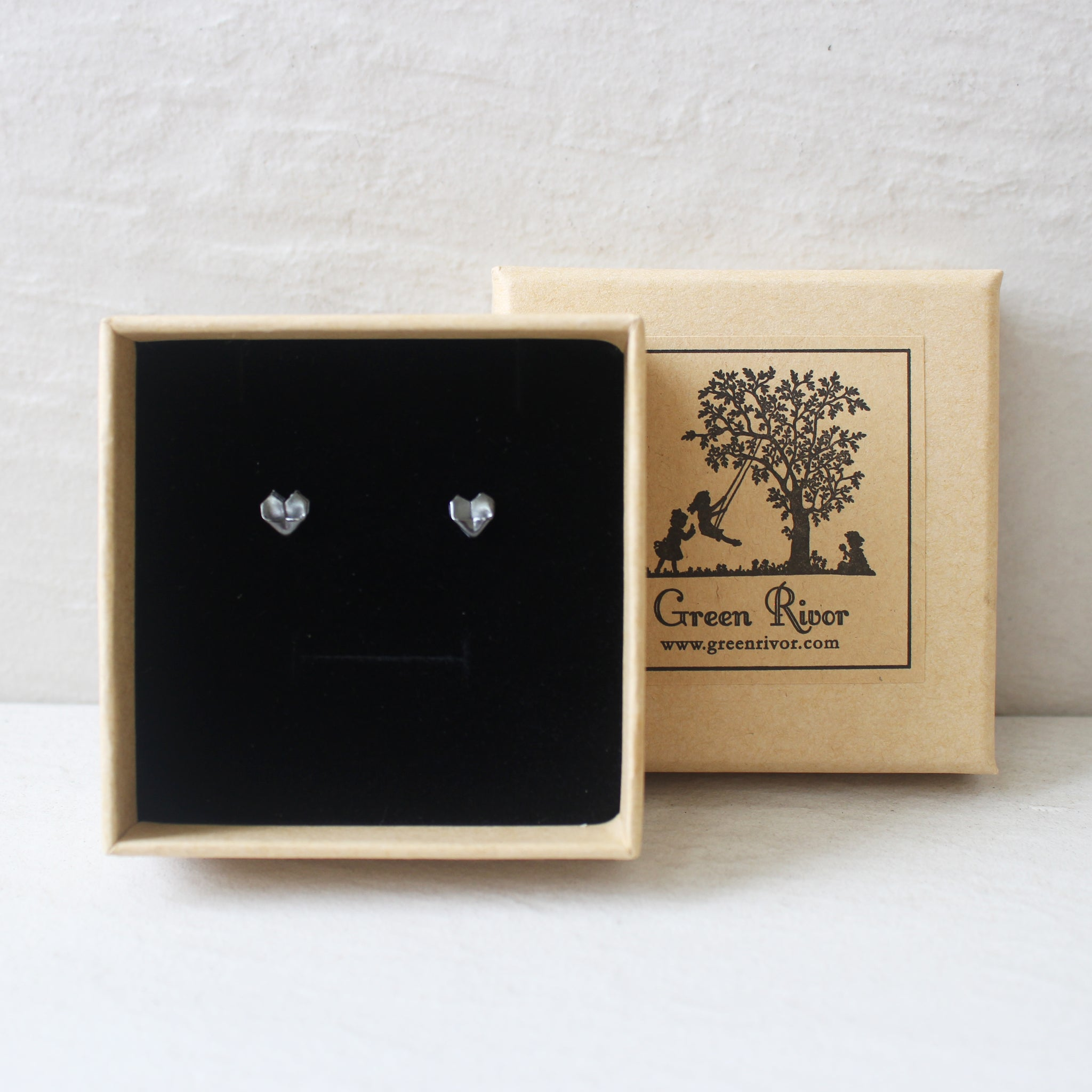 Black Silver Origami Heart Stud Earrings (Mini) / Oxidised Silver Origami Heart Earrings (Small)