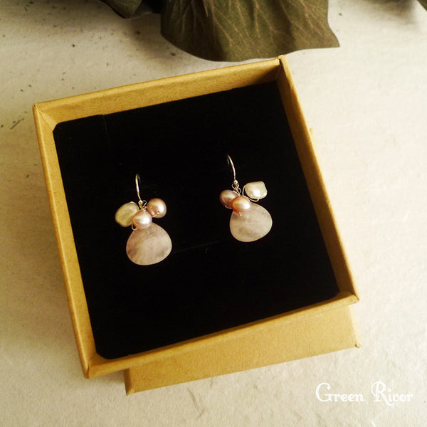 Spring Earrings / Rose Quartz & Pink Pearl Dangling Earrings / Blossom Earrings