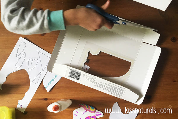 Cutting the Kiss Naturals box - preparing for a wonderful upcycle craft activity!