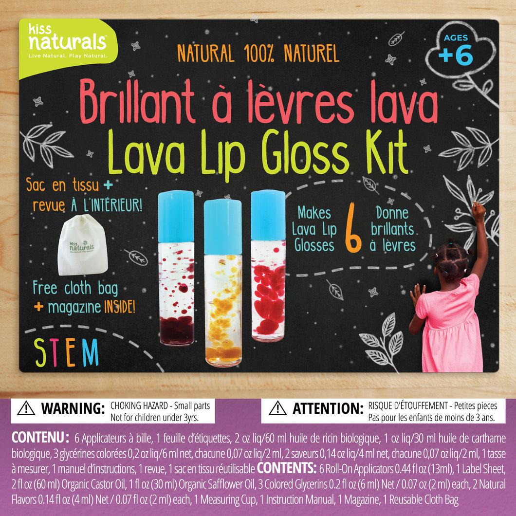 Lava Lip Gloss Kit, 100% natural. Comes with reusable bag and furoshiki cloth. Makes 6 lava lip glosses.