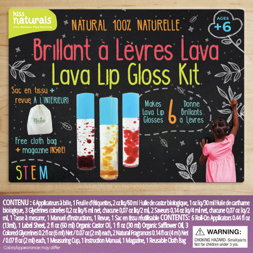 Wholesale Lava Lip Gloss Kit, 100% Natural. Comes with reusable bag and furoshiki cloth. Makes 6 lava lip glosses.