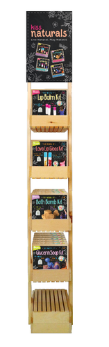 Wood Displayer can hold 24 Kiss Naturals Kits
