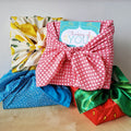 Kits wrapped in our furoshiki gift wrapping cloth