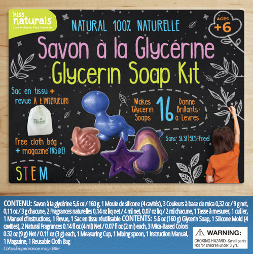 Wholesale Glycerin Soap Kit, 100% Natural. Comes with reusable bag and furoshiki cloth. Makes 16 mini soaps.