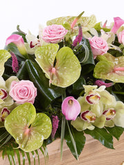 Rose, Orchid and Calla Lily Casket Spray