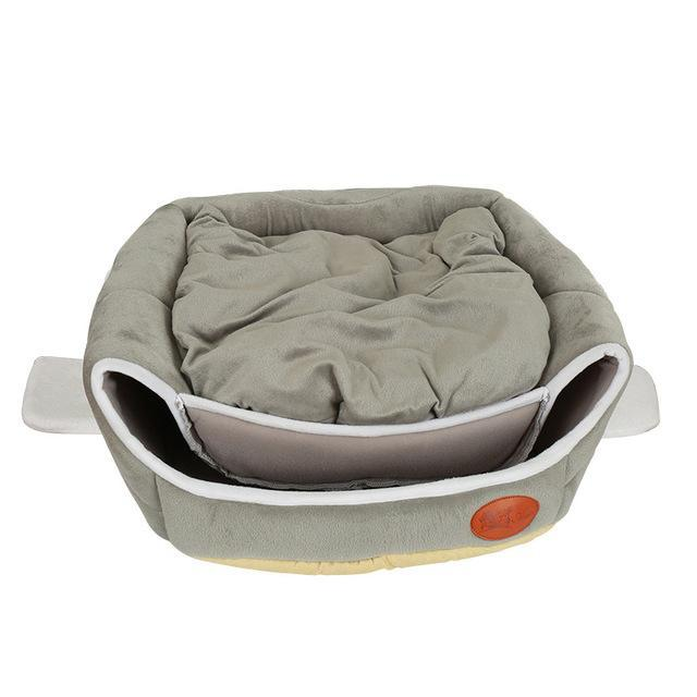 2 in 1 Plane Shape Warm Cotton House Bed Cat Beds & Baskets Pet Clever Grey M