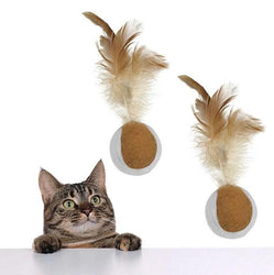 2pcs Rolling Jump Moving Ball with Feather Catch Teaser Cat Toy