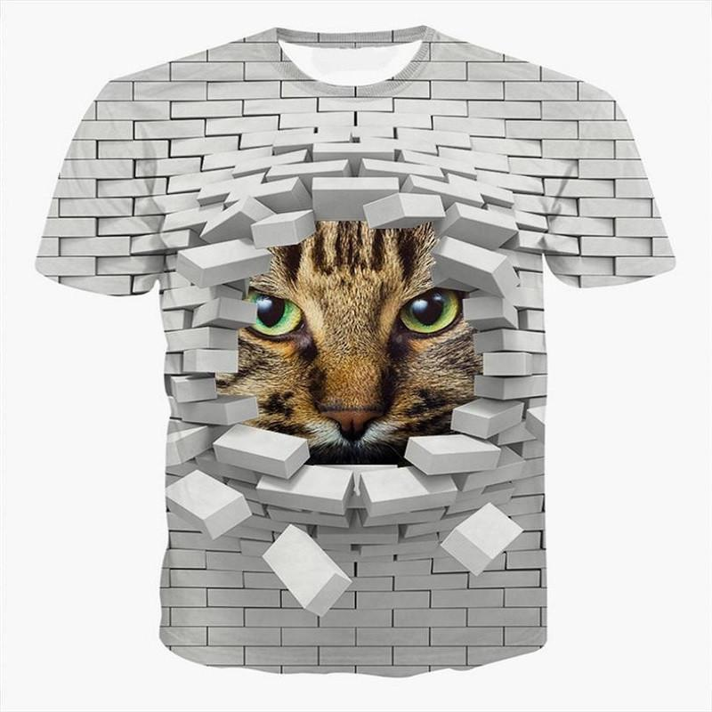 3D Bricks Cat Design T-shirt Cat Design T-Shirts Pet Clever