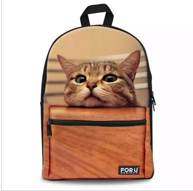 3D Cat BackPack Bag With Laptop Compartment Cat Design Bags Pet Clever Heads up