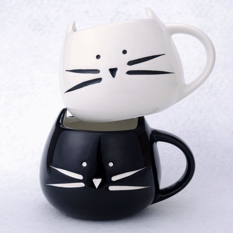 3D Cat Ceramic Milk Cup Set Cat Design Mugs Pet Clever
